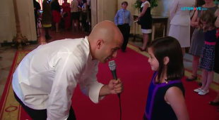 White House Assistant Chef Sam Kass chats with 8-year-old Avery McNew from Michigan just before the first-ever Kids' State Dinner at the White House on Aug. 20. (Photo: YouTube/White House)
