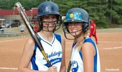 Chamblee shortstop Kelly Strychalski smiling with a teammate