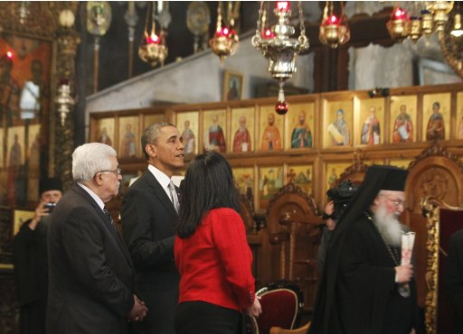 U.S. President Obama tours the Church of the Nativity with Palestinian President Abbas in Bethlehem
