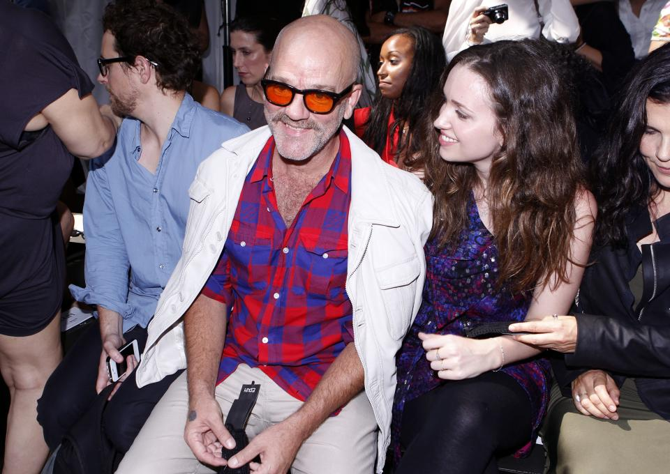 R.E.M. lead singer Michael Stipe arrives for the Edun Spring 2013 collection show during Fashion Week, Saturday, Sept. 8, 2012, in New York. (AP Photo/Jason DeCrow)