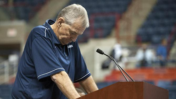 Connecticut head coach Jim Calhoun reacts during a news conference in Storrs, Conn., Thursday, Sept. 13, 2012. Calhoun, who built Connecticut into a basketball power and coached the Huskies to three national titles, announced his retirement Thursday. (AP Photo/Jessica Hill)