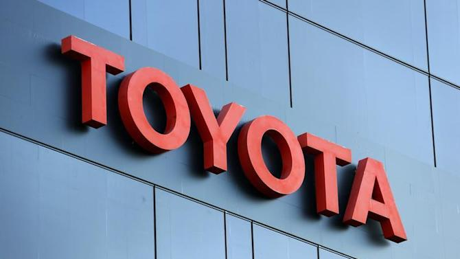 The Toyota logo is seen at a dealership of Japan's Toyota Motor Corp in Brussels