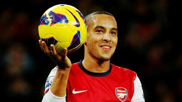 Arsenal&#39;s Theo Walcott after he scored a hat-trick against Newcastle (Reuters)
