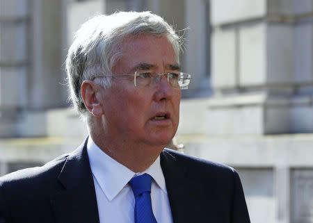 Britain's Defence Secretary Michael Fallon arrives for a Cobra meeting at the Cabinet Office in London
