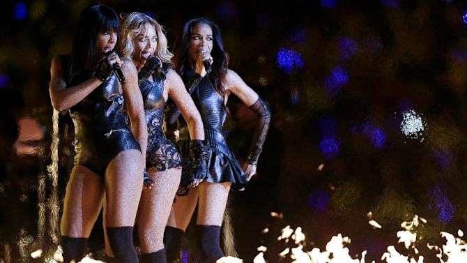 Beyonce, center, Kelly Rowland, left, and Michelle Williams, of Destiny's Child, perform during the halftime show of the NFL Super Bowl XLVII football game between the San Francisco 49ers and the Baltimore Ravens, Sunday, Feb. 3, 2013, in New Orleans. (AP Photo/Marcio Sanchez)