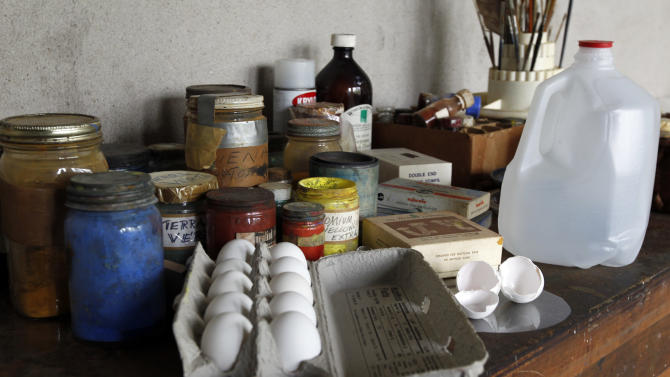 Eggs and egg shells are seen amongst other supplies during a preview tour of the home and studio of artist Andrew Wyeth Monday, April 23, 2012 in Chadd's Ford, Pa. The studio will be open for tours in the summer of 2012 by the Brandywine River Museum. The eggs are for making his signature medium _ egg tempera, a thick mixture of yolks, pigment and distilled water. (AP Photo/Alex Brandon)