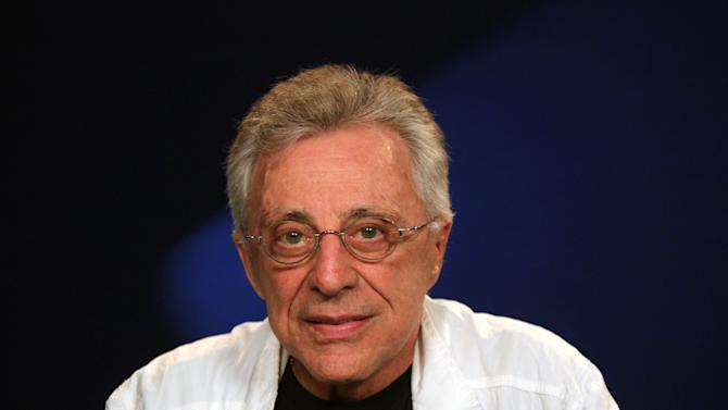 """This Aug. 28, 2012 photo shows Frankie Valli, of Frankie Valli and the Four Seasons in New York. The 78-year old Valli has been belting iconic hits like """"Can't Take My Eyes Off You,"""" and """"Sherry"""" with his trademark falsetto for years.  He will be appearing for seven nights at the Broadway Theater with The Four Seasons beginning Oct. 19. (AP Photo/John Carucci)"""