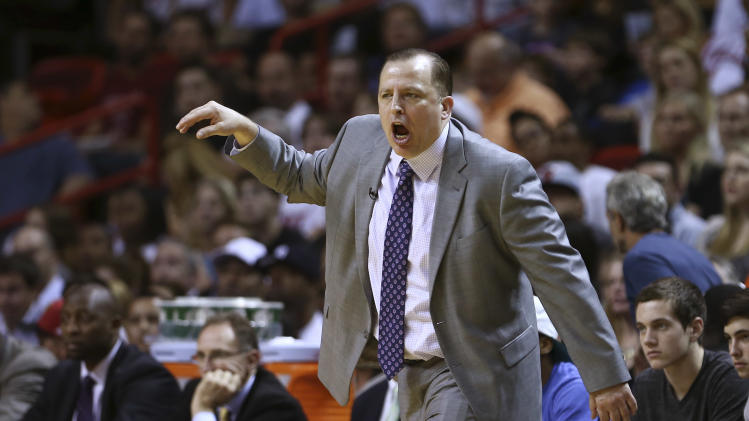 Chicago Bulls coach Tom Thibodeau during the first half of a NBA basketball game in Miami, Friday, Jan. 4, 2013 against the Chicago Bulls. (AP Photo/J Pat Carter)