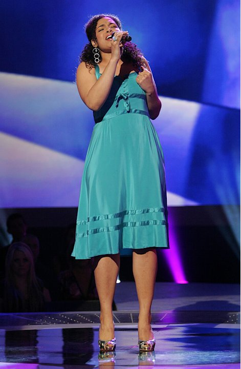 Jordin Sparks performs in front of the judges on the 6th season of American Idol.