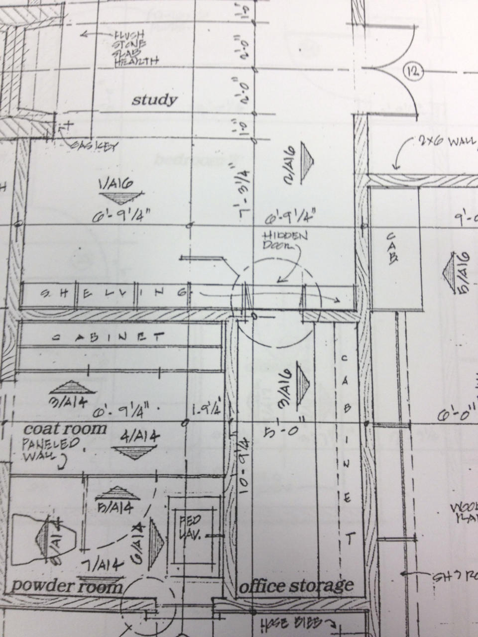 This undated photo provided by Matt Canham shows a drawing of Mitt Romney's soon-to-be constructed home in Holladay, Utah. Romney's study features a book case that swivels open and leads into secret room, The Salt Lake Tribune reports, based on records it obtained. (AP Photo/Matt Canham)