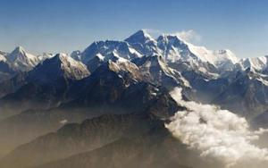 Mount Everest and other peaks of the Himalayan range are seen from air during a mountain flight from Kathmandu