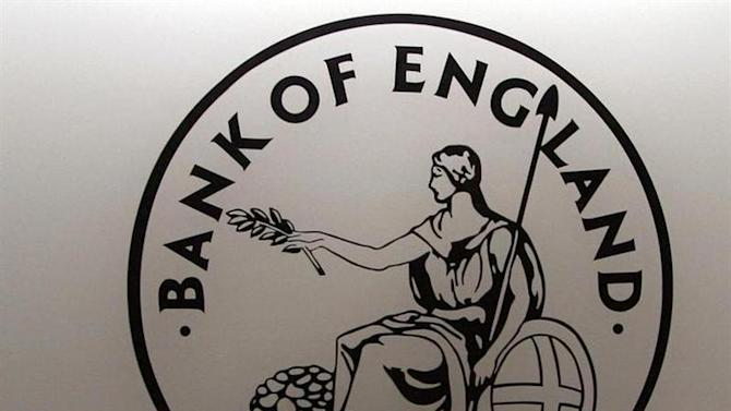 Logo bearing image of Britannia, emblem of Bank of England, is seen in London