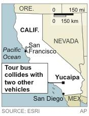 Map UPDATES info from pickup truck to two other vehicles; locates Yucaipa, Calif, where a tour bus collided with two other vehicles, killing eight people