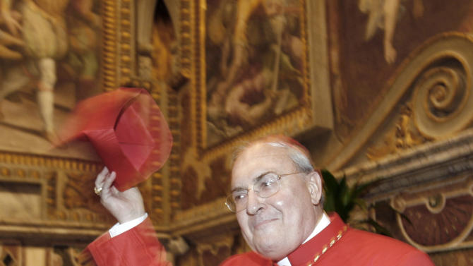 FILE - In this Nov. 24, 2007 file photo, Argentine Cardinal Leonardo Sandri poses for a picture during a meeting with relatives and friends at the Vatican. After the resign of Pope Benedict XVI, announced on Monday, Feb. 11, 2013, Cardinal Sandri allegedly is among the contenders to be the pope's successor. (AP Photo/Alessandra Tarantino, file)