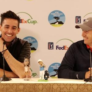 "Jordan Spieth and Jake Owen talk about ""the plaque"" before AT&T Pebble Beach"