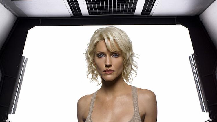 Tricia Helfer as Number Six in Battlestar Galactica on the Sci Fi Channel.