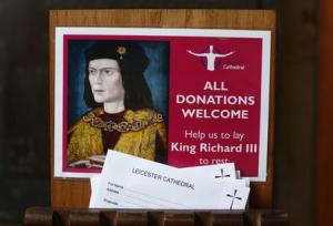 Donation cards are displayed after a decision of the Judicial Review permitting King Richard lll to be buried at Leicester Cathedral in central England