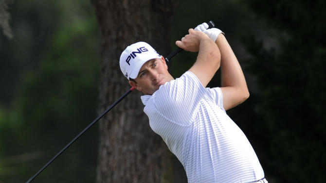 Michael Thompson watches his tee shot down the ninth fairway during the second round of The McGladrey Classic PGA Tour golf tournament Friday, Oct. 19, 2012 in St. Simons Island, Ga. (AP Photo/Stephen Morton)