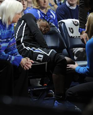 Duke guard Alexis Jones reacts after being injured in an NCAA college basketball game Sunday, Feb. 23, 2014 in South Bend, Ind. (AP Photo/Joe Raymond)