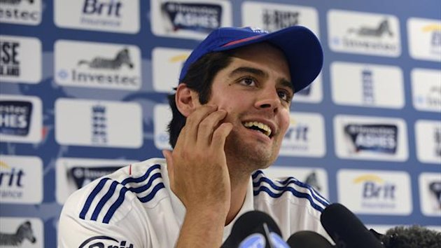 Alastair Cook speaks at a news conference before Thursday's third Ashes test cricket match against Australia at Old Trafford (Reuters)