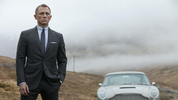 "FILE - This undated handout file photo released by Columbia Pictures shows Daniel Craig as James Bond in the action adventure film, ""Skyfall."" According to studio estimates Sunday, Dec. 9, 2012, ""Skyfall"" took in $11 million to move back to No. 1 in its fifth weekend. That puts it narrowly ahead of ""Rise of the Guardians,"" the animated adventure of Santa, the Easter Bunny and other mythological heroes that pulled in $10.5 million.(AP Photo/Sony Pictures, Francois Duhamel, File)"