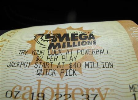 A mega million lottery ticket is shown in this illustration photograph in San Diego, California