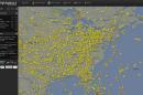 """This image made from the website Flightradar24.com shows air traffic over the eastern half of the United States on Saturday, Aug. 15, 2015 at 4 p.m. EDT. Flights bound for the Washington area and some flights from airports in the New York City area that must fly over the Washington region were being delayed or grounded Saturday due to """"technical issues"""" at an air traffic control center in Virginia, the Federal Aviation Administration said. (Flightradar24.com via AP) MANDATORY CREDIT: FLIGHTRADAR24.COM"""