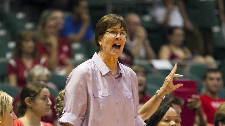 Stanford head coach Tara VanDerveer reacts to the action during the first half against Baylor in an NCAA college basketball game Friday, Nov. 16, 2012 in Honolulu.  (AP Photo/Marco Garcia)