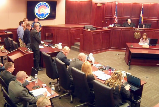 The defendant, James Holmes, stood with his hands in his pockets for an hour on July 16 while Judge Carlos Samour read each guilty verdict against him...