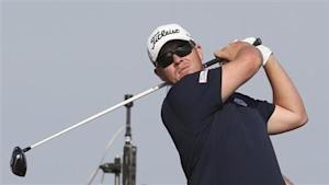 Coetzee tees his shot during the third round of the Qatar Masters in Doha