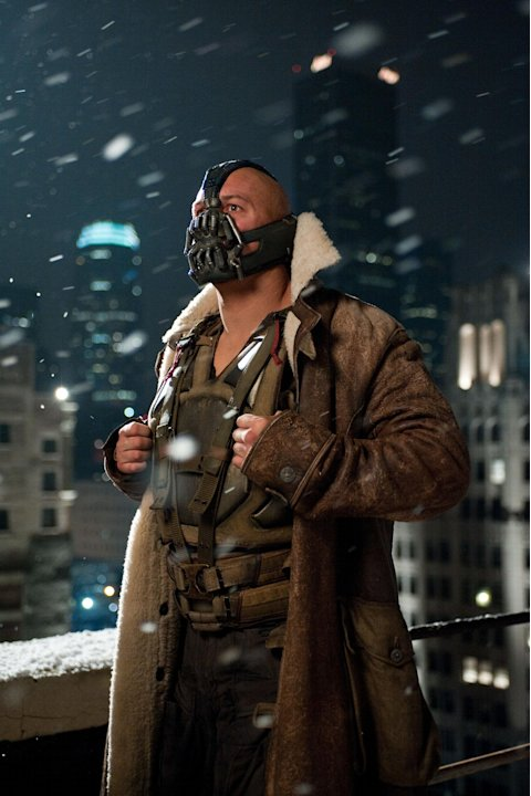 "This undated film image released by Warner Bros. Pictures shows Tom Hardy as Bane in a scene from the action thriller ""The Dark Knight Rises."" A gunman in a gas mask barged into a crowded Denver-area"