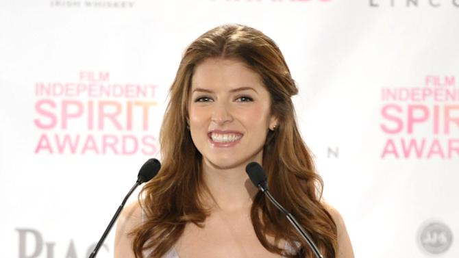 Anna Kendrick appears on stage at the Film Independent Spirit Awards Nominations press conference at The W Hotel Hollywood on Tuesday, Nov. 27, 2012, in Los Angeles. The show will be held on Saturday, February 23, 2012 in the afternoon in a tent on the beach in Santa Monica. (Photo by John Shearer/Invision/AP)