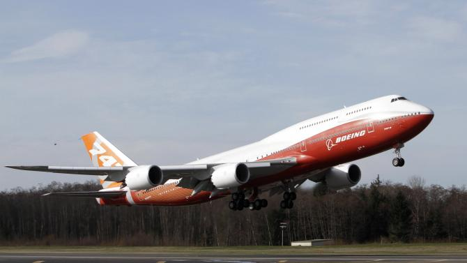The Boeing 747-8 Intercontinental takes off on its maiden flight from Paine Field, in Everett, Washington