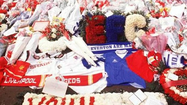 FOOTBALL 1989 Hillsborough disaster tribute flowers Liverpool Everton