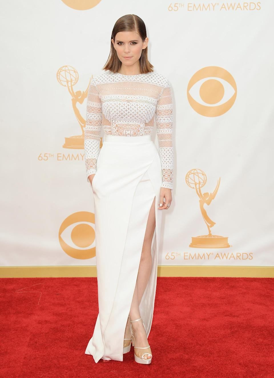 Kate Mara arrives at the 65th Primetime Emmy Awards at Nokia Theatre on Sunday Sept. 22, 2013, in Los Angeles. (Photo by Jordan Strauss/Invision/AP)