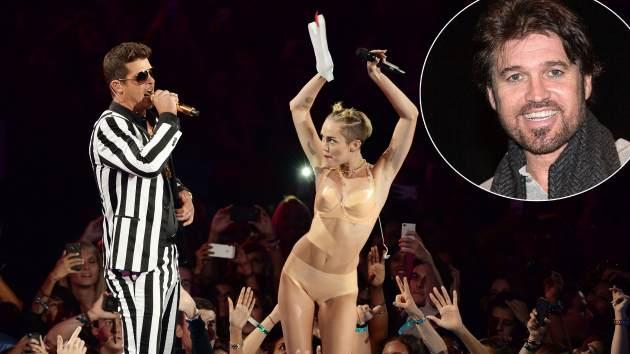 Robin Thicke and Miley Cyrus perform during the 2013 MTV Video Music Awards at the Barclays Center on August 25, 2013 in the Brooklyn borough of New York City -- Getty Images