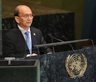Thein Sein, President of Myanmar, speaks during the 67th session of the United Nations General Assembly on September 27 in New York. UN leader Ban Ki-moon warned Saturday that Muslim-Buddhist unrest in Myanmar&#39;s Rakhine state could hit the country&#39;s landmark reforms and spill across borders, a UN spokesman said