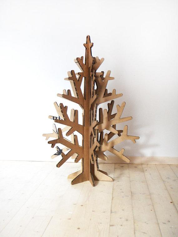 etsy cardboard Space-saving Christmas tree alternatives