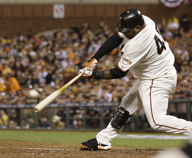 San Francisco Giants' Pablo Sandoval hits a home run during the fifth inning of Game 1 of baseball's World Series against the Detroit Tigers Wednesday, Oct. 24, 2012, in San Francisco. (AP Pho