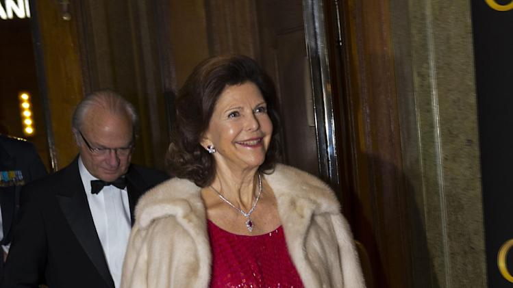 Sweden's Queen Silvia arrives at the Oscars Theatre in central Stockholm