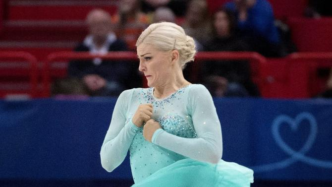 Sweden's Helgesson performs during the women's short program at the European Figure Skating championships in Stockholm