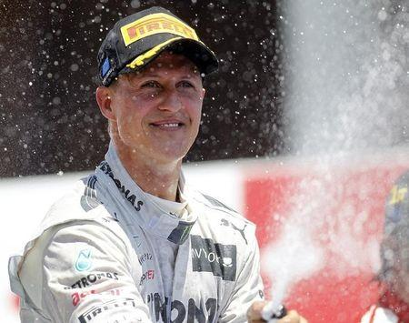 Mercedes Formula One driver Schumacher sprays champagne during the podium ceremony after the European F1 Grand Prix at the Valencia street circuit