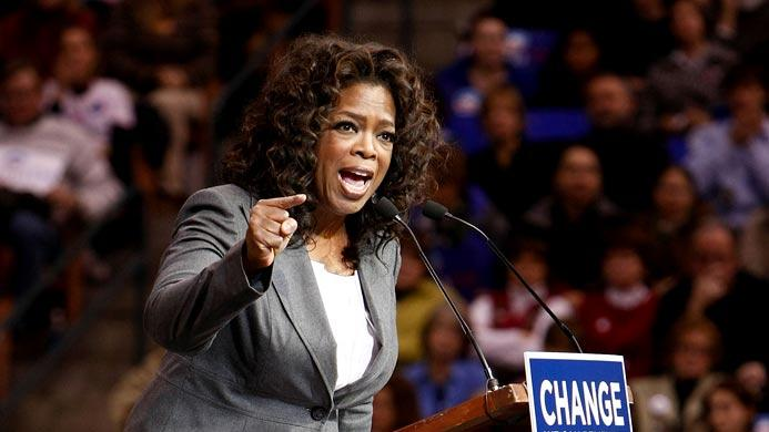 Oprah Winfrey introduces Presidential candidate Barack Obama during a rally held at the Verizon Wireless Arena in Manchester, New Hampshire on December 9, 2007 in New York City.