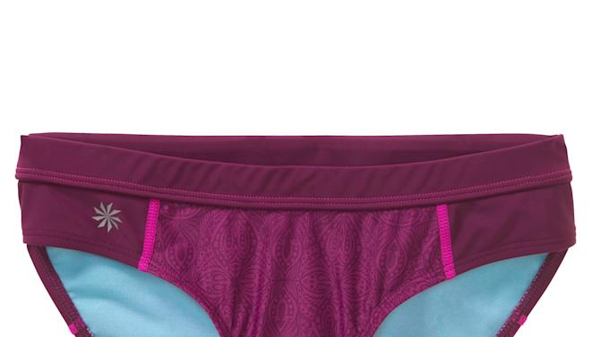This product image released by Athleta shows a bikini bottom. Swim separates, including bikini and tankini tops, and brief, bikini and short-style bottoms, were introduced into wide distribution several years ago. They were intended to solve a practical problem when consumers needed a bigger top or bigger bottom, but women have since started using them to make a style statement.  (AP Photo/Athleta)