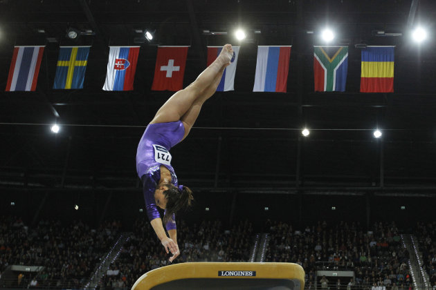 Gold medallist Alicia Sacramone of the U.S. performs during the women's vault final of the World Championships Gymnastics in Rotterdam, Netherlands, Saturday Oct. 23, 2010. (AP Photo/Bas Czerwinski)
