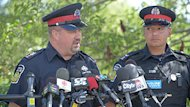 Peel Regional Police Sgt. Pete Brandwood, left, told reporters that police have found two severed hands.