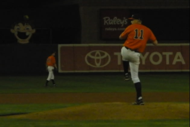 Roseville pitcher Mark Reece delivers a pitch during his no-hitter &#x002014; Facebook