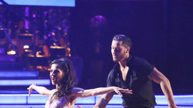 """This Monday, Nov. 26, 2012 publicity photo provided by ABC, shows Kelly Monaco, left, and Valentin Chmerkovskiy in """"Dancing with the Stars: All-Stars"""" - Episode 1510, as a competing couple in a Super-Sized Freestyle one-hour performance in which they were allowed to add extra performers, to incorporate all kinds of lifts and tricks to create an out-of-this-world entertaining routine on the ABC Television Network. Monaco is a finalist for the """"Dancing with the Stars"""" Mirror Ball Trophy on the ABC TV show Tuesday, Nov. 27, 2012. (AP Photo/ABC, Adam Taylor)"""