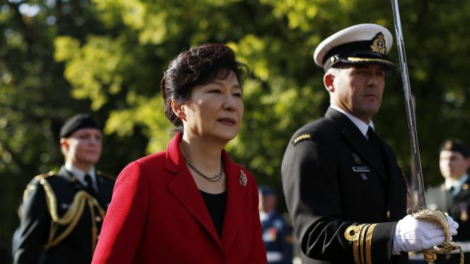South Korea's President Park takes part in an official welcoming ceremony at Rideau Hall in Ottawa