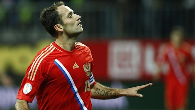Russia's Roman Shirokov celebrates his goal against Azerbaijan (Reuters)